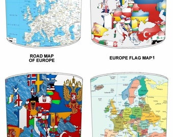 Europe Maps Lamp shades, To Fit Either a Table Lamp base or a Ceiling Light Fitting.