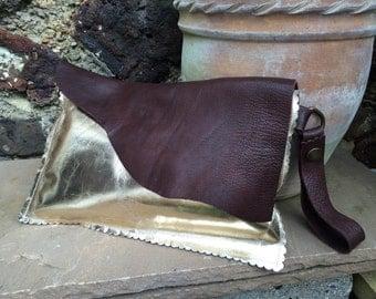 Ox Blood Brown & Gold Metallic Envelope Clutch Bag