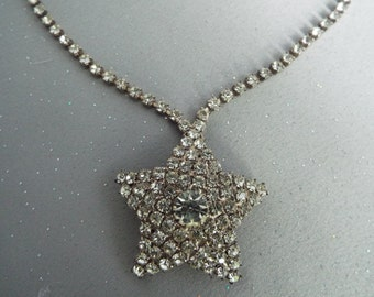 Star Rhinestone Vintage Necklace