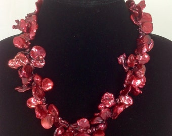 Red Keishi Pearl Necklace