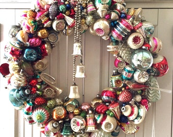 SAMPLE Large Pink & Green Vintage Christmas Ornament Wreath