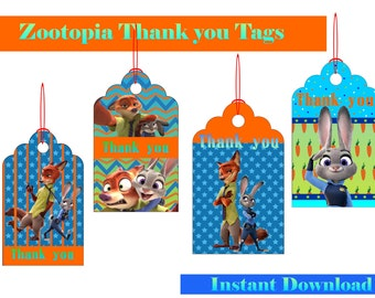 Zootopia Inspired Tags Zootopia Digital Party Supplies 4 Designs Zootopia Tags Zootopia image PRINTABLE Instant Download Zootopia Thank tags