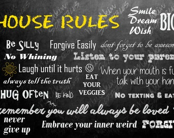 Chalkboard House Rules Poster
