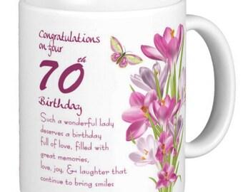 70th Birthday, Butterfly And Crocus, birthday gift mug - 65th, 60th, 55th, 50th