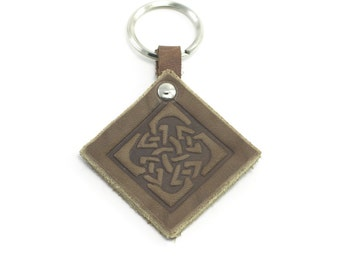 Leather Key Chain with Celtic embossed