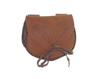 Men's medieval embossed leather bag, Waist bag, Hip bag, 100% Genuine Leather, brown color; LARP; Man bag