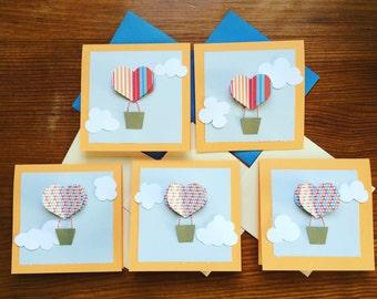 "5 ""Hot air balloon"" No. blank cards. 4"