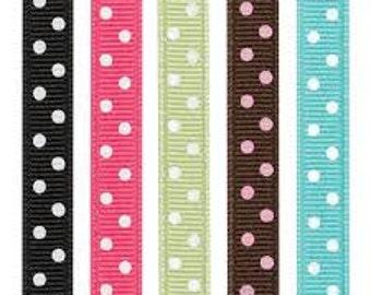 Polyester grosgain ribbon w/polka dots  7/8