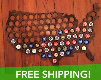 Beer Cap Map of USA,  Honey Brown Wood Bottle Cap Map, Craft Beer