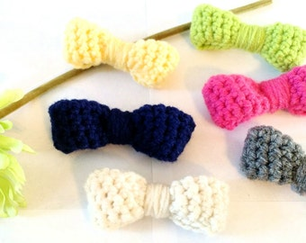 Infant/Toddler crochet bows/bowties - choose clip or elastic