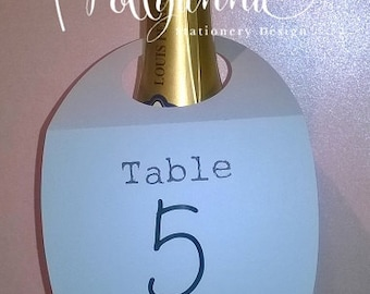Personalised Bottle Tag/ Table Number Card - Any Colour