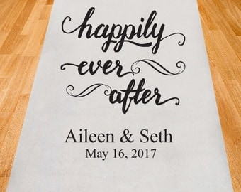 Happily Ever After Wedding Aisle Runner - Personalized Wedding AIsle Runner - Plain White Aisle Runner  (ppd12)