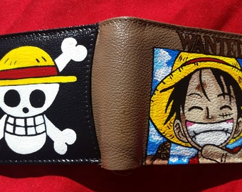 Hand Painted Monkey D Luffy Leather Wallet, Jolly Roger, One Piece Wallet, One Piece