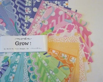 """Moda Grow 5"""" Charm Pack of 42 squares -100% cotton"""