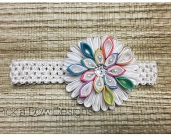 RAINBOW BABY HEADBAND // Baby headband // Toddler headband // Big flower Headband // Kanzashi headband // Kanzashi // 1st birthday headband