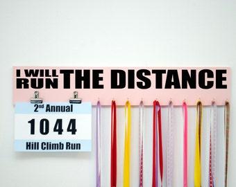 Run the Distance Race Bib Holder and Medal Holder Combo, Running Bib Holder for Marathons, Gift for Runners, Medal Rack Display