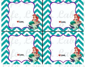 Little Mermaid 1st Birthday Bubble Bottle Labels & Blank Thank You Card