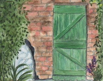 Green Door - Watercolor
