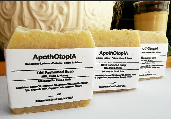 3 Pack Soap Set - Milk, Oats & Honey Soap - Organic - Fair Trade Sourced, Traditional, Unscented, Plain, Rustic Soap