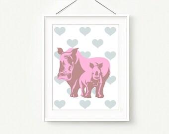Rhinoceros Calf Digital Print Nursery wall decor Rhinoceros Rose Print Instant DOWNLOAD ,  Baby and mother print  , Rhinoceros  painting