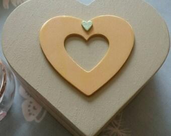 Heart shaped shabby chic wooden box.