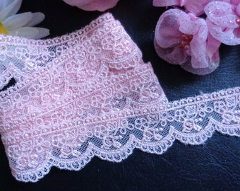 1 1/8 inch wide pink mesh scalloped embroidery lace trim ribselling by the yard