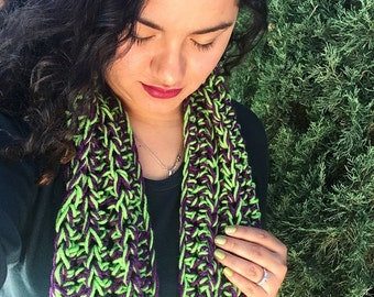 green infinity scarf, purple and green scarf, fall scarf,crochet infinity scarf, green and purple scarf, infinity scarf, handmade scarf
