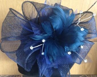 Navy fascinator/wedding/prom/races/bride/groom/mother
