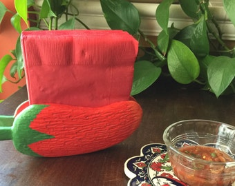 Chile Pepper Napkin Holder, Red Wooden Napkin Holder, Mexican Table Decor