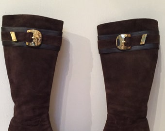 Free Shipping- Vintage Cole Haan NikeAir Brown Suede Knee High Boots Size 7B