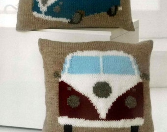 Split Window Campervan Cushion Covers Knitting Pattern.