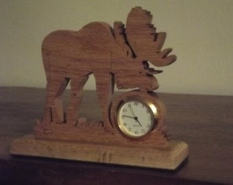 Handcrafted Moose desk clock Made in Aroostook County Maine