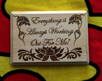 "Pyrography Lotus & Dolphins - Wood Burning Art - Wooden Plaque with Quote -  8.5""x5.5"""