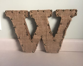 Wood letter with upcycled coffee bag