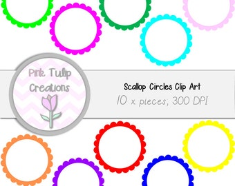10 x Digital Clip Art Scallop Circles