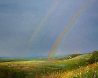 painting. under the rainbow. oil on canvas.