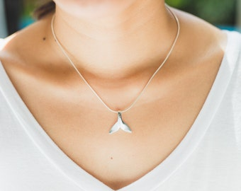Sterling Silver chain, Whale tail pendant, Silver pendant,  Silver chain necklace, 925 silver, Bohemian necklace (P 85)