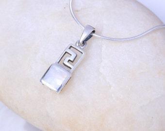 Gemini Birthstone, Silver and moon stone pendant, Sterling Silver chain, Silver pendant,  silver necklace, 925 silver, Boho jewelry (P 4/3)