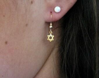 Star of David earrings, gold jewelry, gold Star of David earrings, Star of David jewelry, magen David earrings, Jewish jewelry