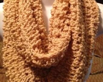 Beige crochet infinity scarf