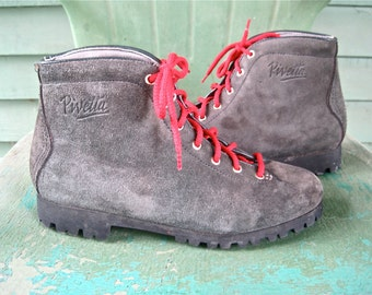 Pivetta  Made in Italy Gray Suede Vintage 1970's Hiking Boots Womens size 8 1/2 Never Worn