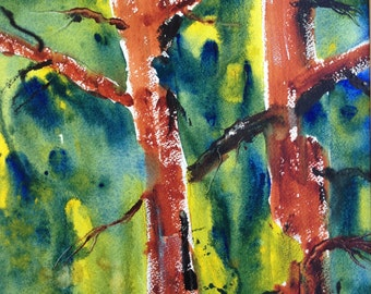 Old pines ~ an orignal watercolor painting