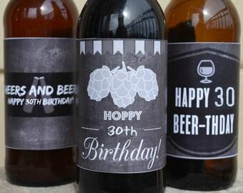 30th Birthday Chalkboard Beer Labels Printable