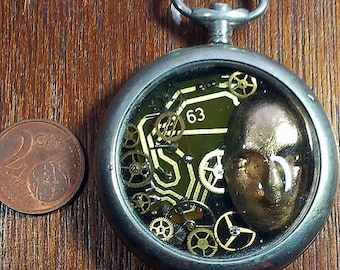 Steampunk  pendant :  pocket watchcase, gears, resin, electronics  b4hv-027