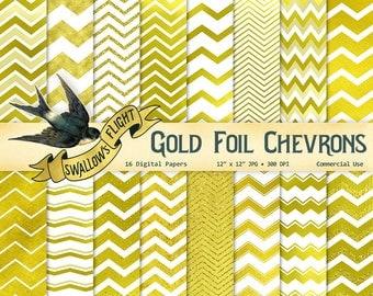 Gold Foil Chevrons Digital Paper - 16 JPG Files - Glitter - Instant Download - Commercial Backgrounds