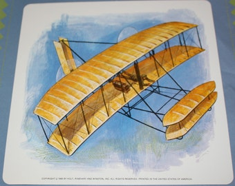 Vintage Double-Sided Large Flash Card - Retro Airplane Print - Biplane Print - 1960's