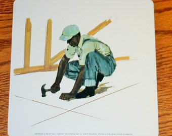 Vintage Double-Sided Large Flash Card - 1960's - Carpenter - Man with Hammer - Overalls - Working