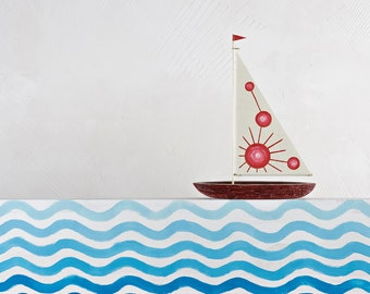Red chemistry wooden sailboat / Handmade Sailboat / Bark boat / Interior decoration / Wooden ship / Handmade toy / Gift for him