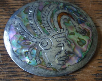 Sterling Mayan Abalone Brooch/Pendant