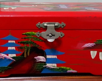 Red Lacquered Japanese Wooden Jewelry Box